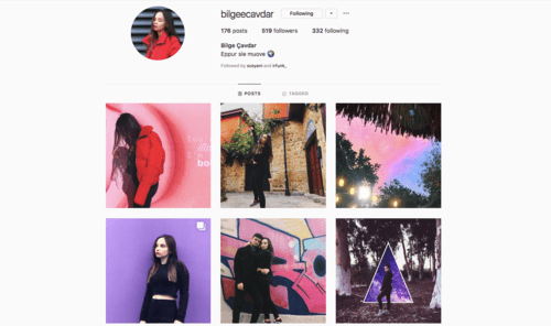 example aesthetic instagram profile via bilgeecavdar